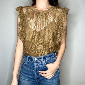 Zara Lace Ruffle Top